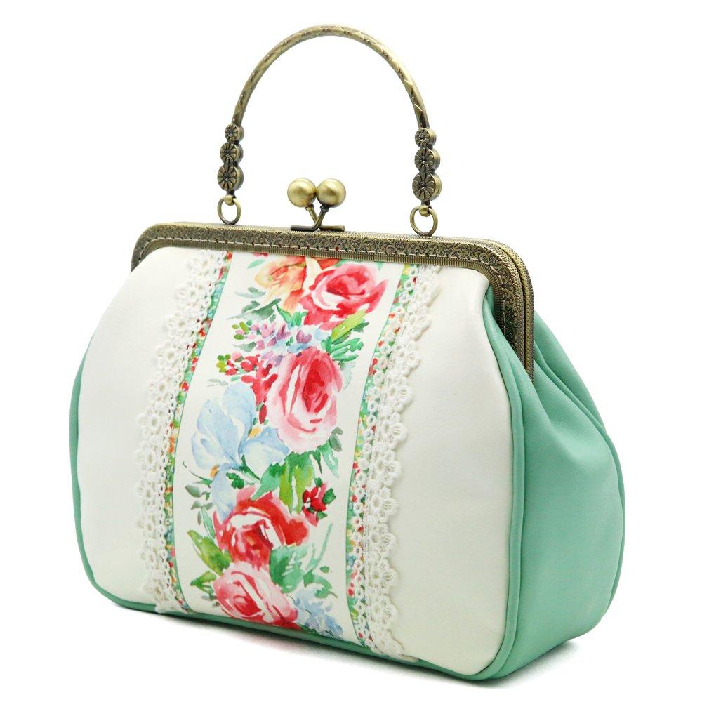 Women Vintage Tote Bag Unique Evening Crossbody Bag Floral Wedding Shoulder Bag Big Capacity Kiss Lock By Miss Cat