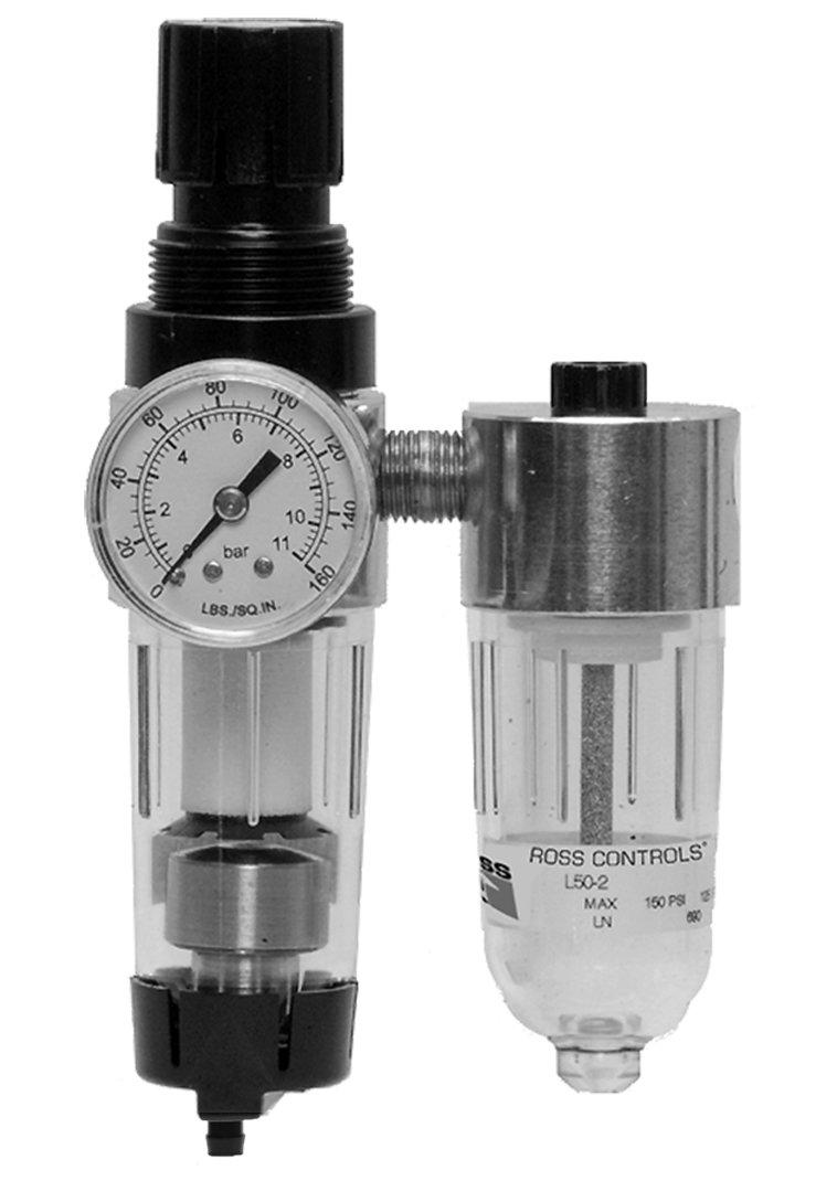 Self-Relieving Ross Controls 5352C2005 Miniature Series Integrated Filter//Regulator Plus Lubricator 0-6.9 0-100 Standard Flow Piston