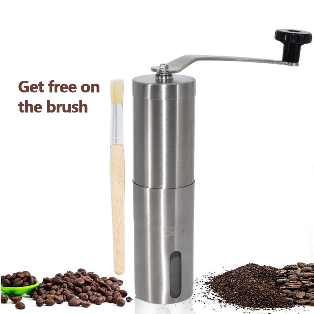 Manual Coffee Grinders,Portable Stainless Steel Coffee Bean Grinder Conical Burr Mill for Travel Camping,for Office and fits in Aeropress with free Cleaning Brush.
