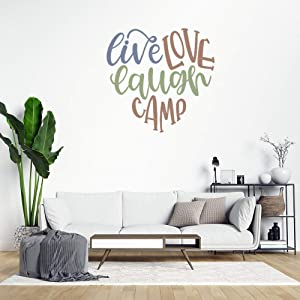 Live Love Laugh Camp Heart Peel and Stick Wall Decals Camping Quote Wall Stickers for Bedroom Living Room Wall Art Home Decor Decal Sticker