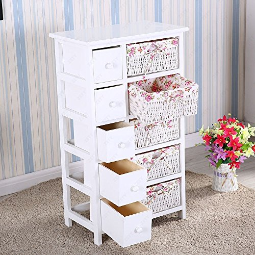 Walomes 5 Drawers 5 Baskets Storage Dresser Chest Cabinet Wood Bedroom Furniture by Walomes