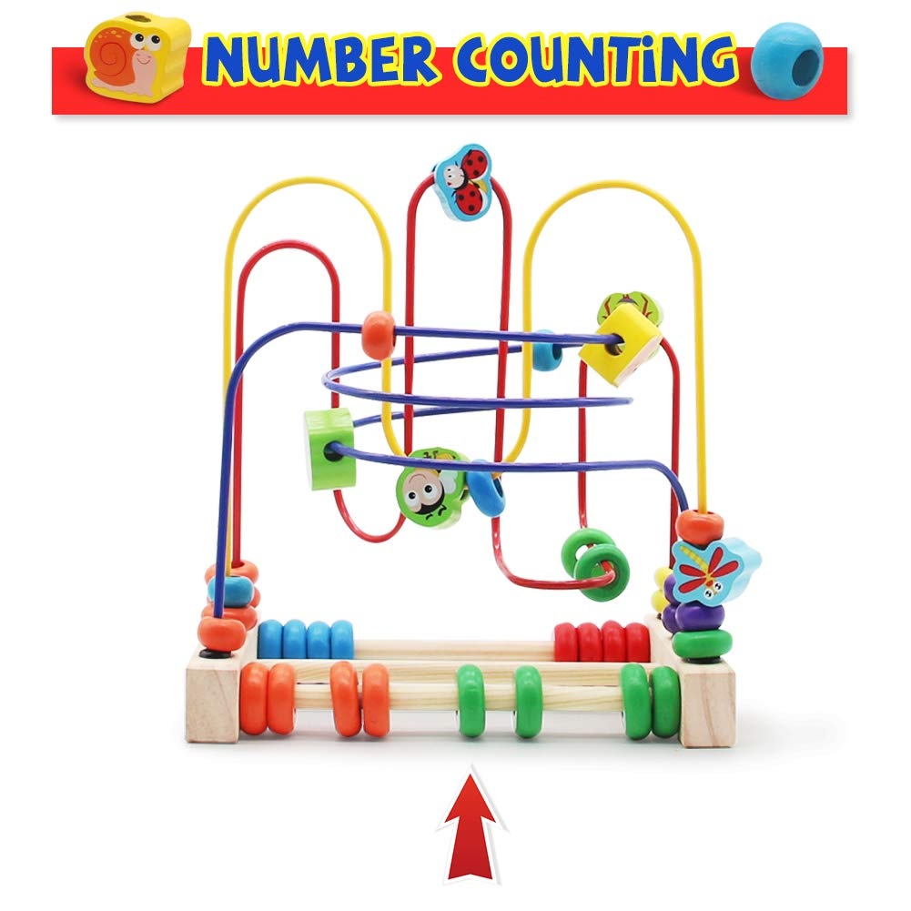 Nuheby Jeu Labyrinthe Circuit Jouets Bebe Bois Boulier Labyrinthe 6 Insectes Circuit De Motricit/é Jeu Educatif pour Cadeau Enfant 3 4 5 6 Ans Fille Garcon