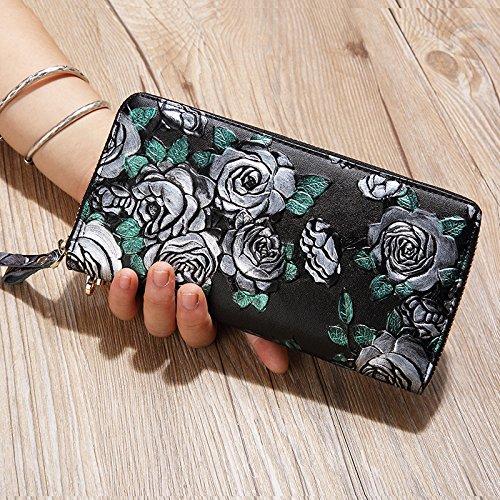 OME&QIUMEI Meine Damen Geldbörse Zipper Wallet Wallet Card Drucken Großer Kapazität (20 Cm * 10 Cm * 3 Cm) Silver Rose 7Qu7Vi