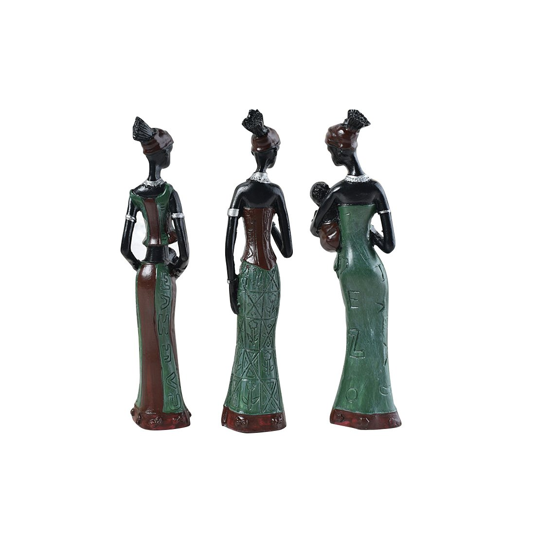 TBW African Tribal Women Collectible Figurines for Mother's Gifts,Green,Pack of 3 by TBW (Image #3)