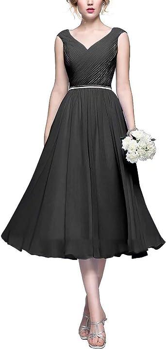Chiffon Tea Length A Line Bridesmaid Dresses