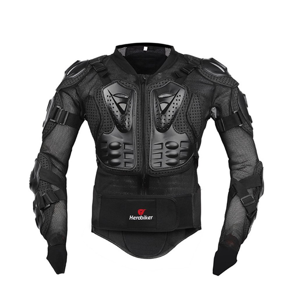 HEROBIKER Motorcycle Full Body Armor Jacket spine chest protection gear Motocross Motos Protector Motorcycle Jacket 2 Styles (L, Black) HEROIBKER