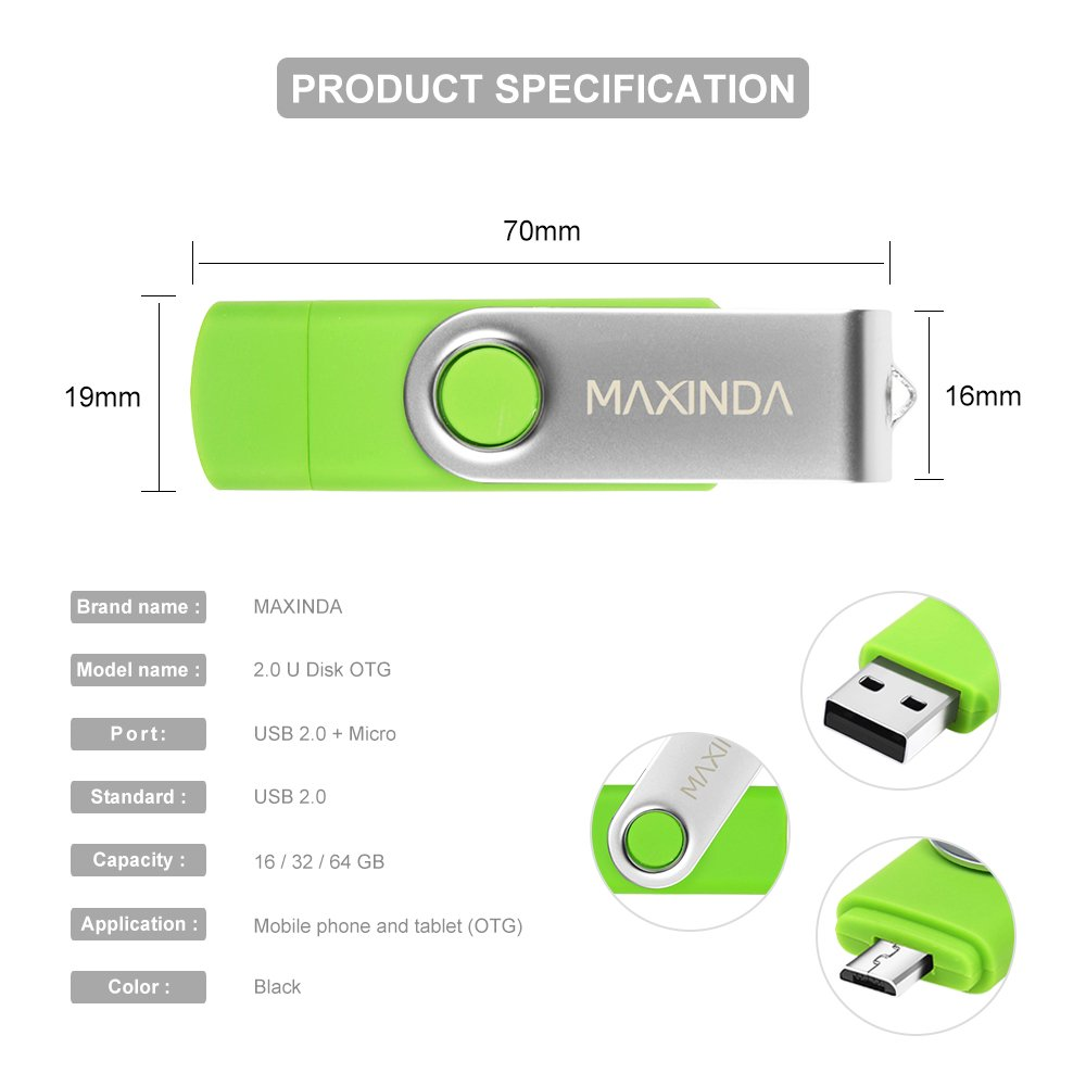 MAXINDA 8GB/16GB/32GB/64GB OTG Telefono Mobile /Tablet PC Trasformazioni Duale Micro USB / USB 2.0 Memoria Unità Flash In Movimento Disco USB (64GB)