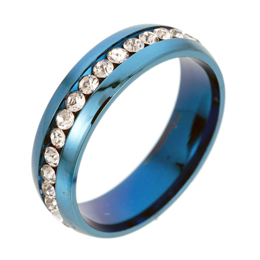 WoCoo Stainless Steel Magic Crystal Diamond-Set Rings for Women Men(Blue,Size 10)
