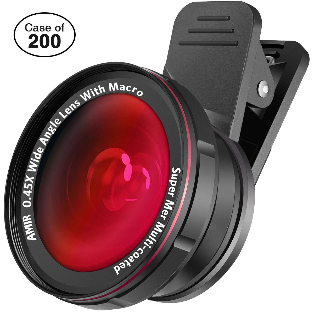 Case of 200 Packs, Cell Phone Lens Kit, 0.45X Wide Angle Lens + 15X Macro Lens for iPhone, 2 in 1 Clip-On Cell Phone Camera Lens for iPhone, Smartphones