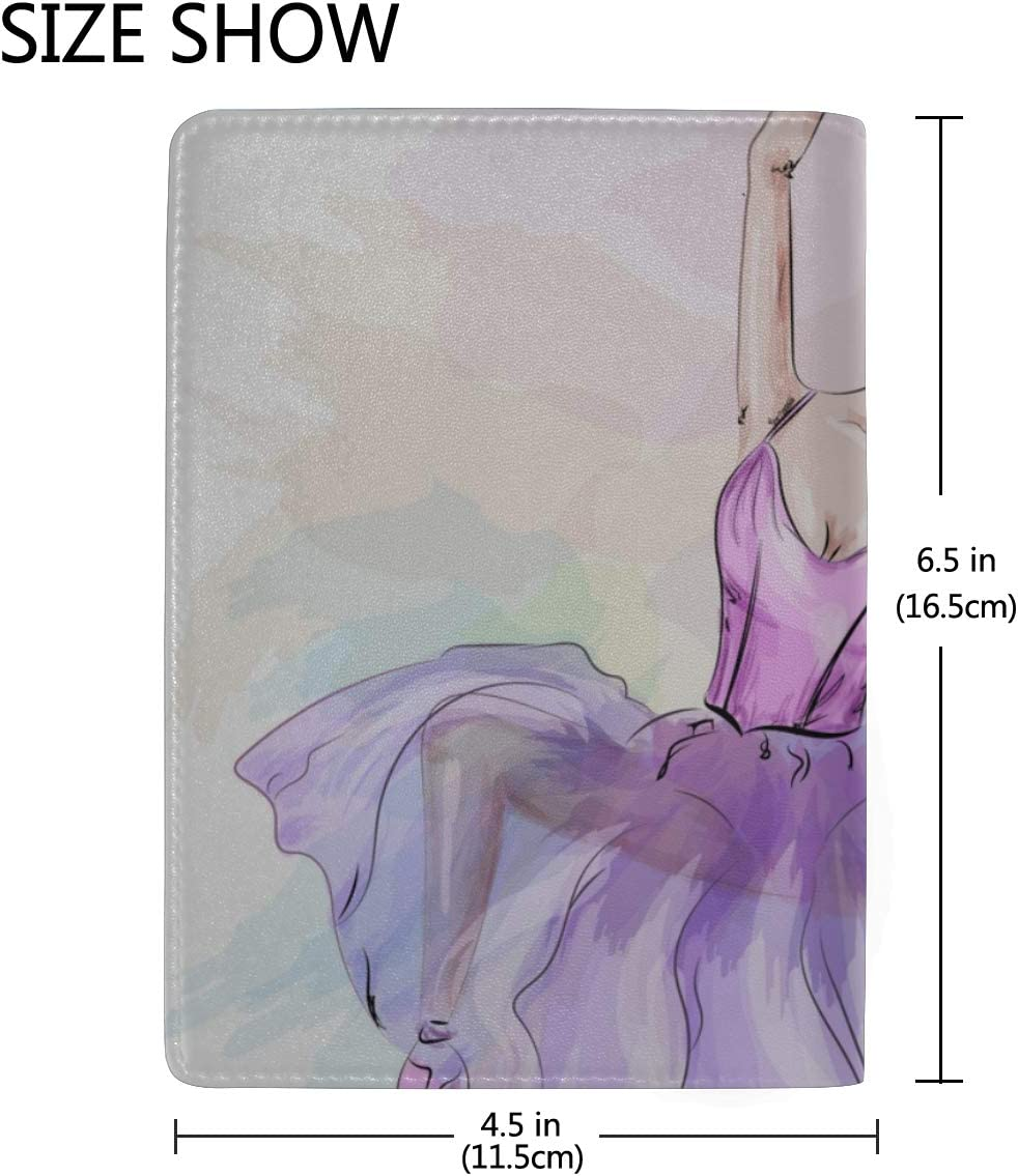 Cute Ballerina Dancing Blocking Print Passport Holder Cover Case Travel Luggage Passport Wallet Card Holder Made With Leather For Men Women Kids Family