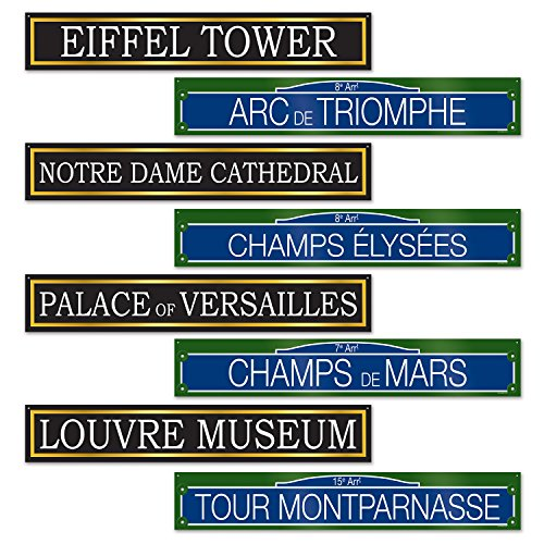 French Party Decorations (Beistle French Street Signs Cutouts, 4 by 24-Inch, Multicolor)