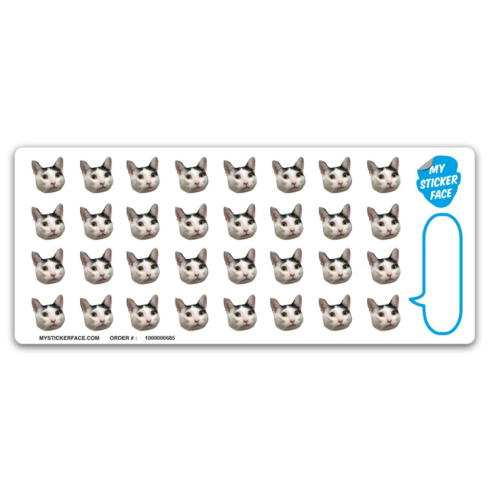 Custom Photo Stickers, Face Stickers, Stickers of Your Cat, 0.75' Stickers 0.75 Stickers My Sticker Face