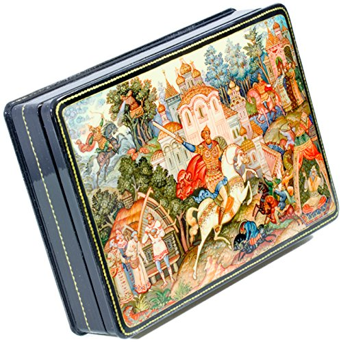 Hand Lacquer Painted Russian (craftsfromrussia Russian Lacquer Miniature - Jewelry Trinket Box -Vitjaz (Fairy-Tale) - Big Size - Hand Painted in Russia (Big, Style H))