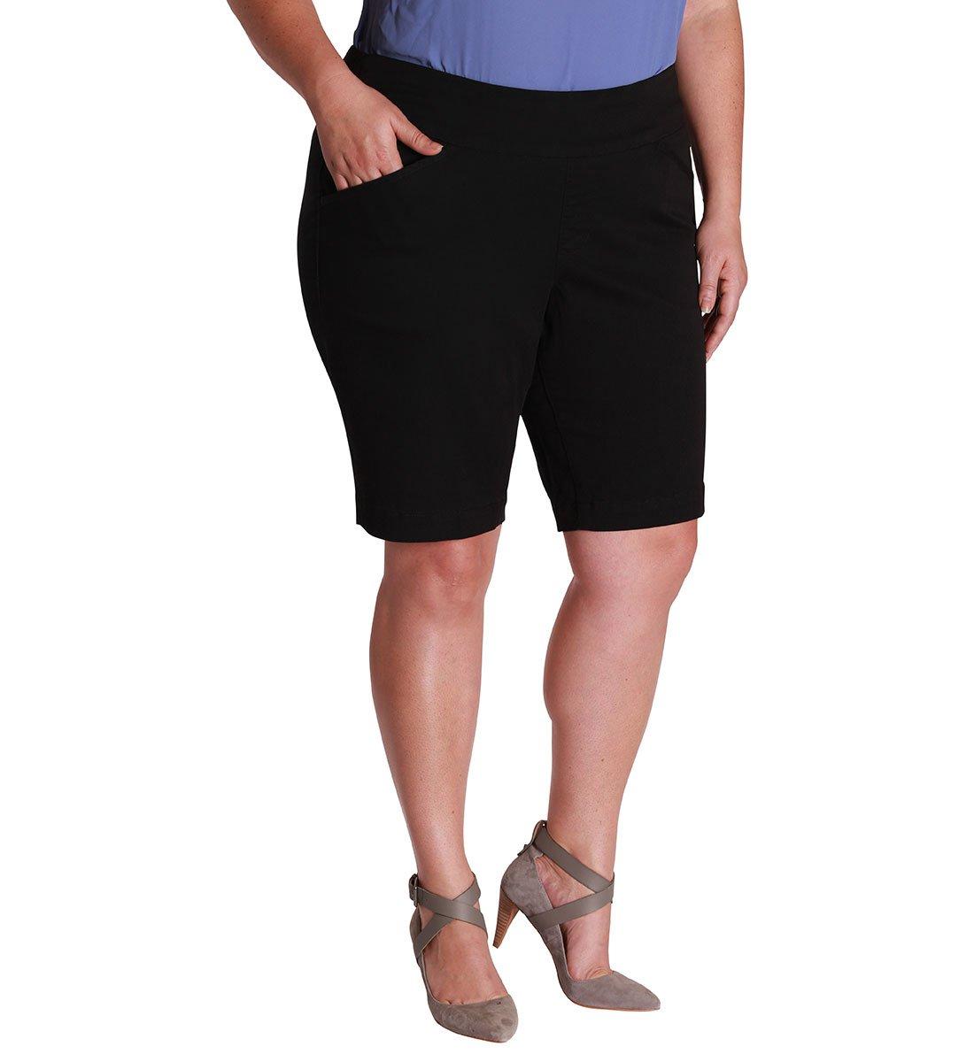Jag Jeans Women's Plus Size Ainsley Pull on Bermuda Short, Black, 20W