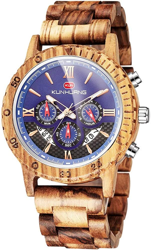 Wooden Watch for Men Women, Stylish Chronograph Military Casual Handmade Wood Watches