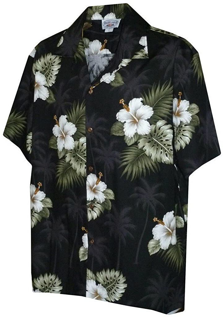 Pacific Legend Mens Floral Hibiscus and Palm Hawaiian Shirt