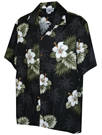 4feb4fe5 Pacific Legend Men's Hibiscus & Palm Hawaiian Shirt (Black) at Amazon Men's  Clothing store: