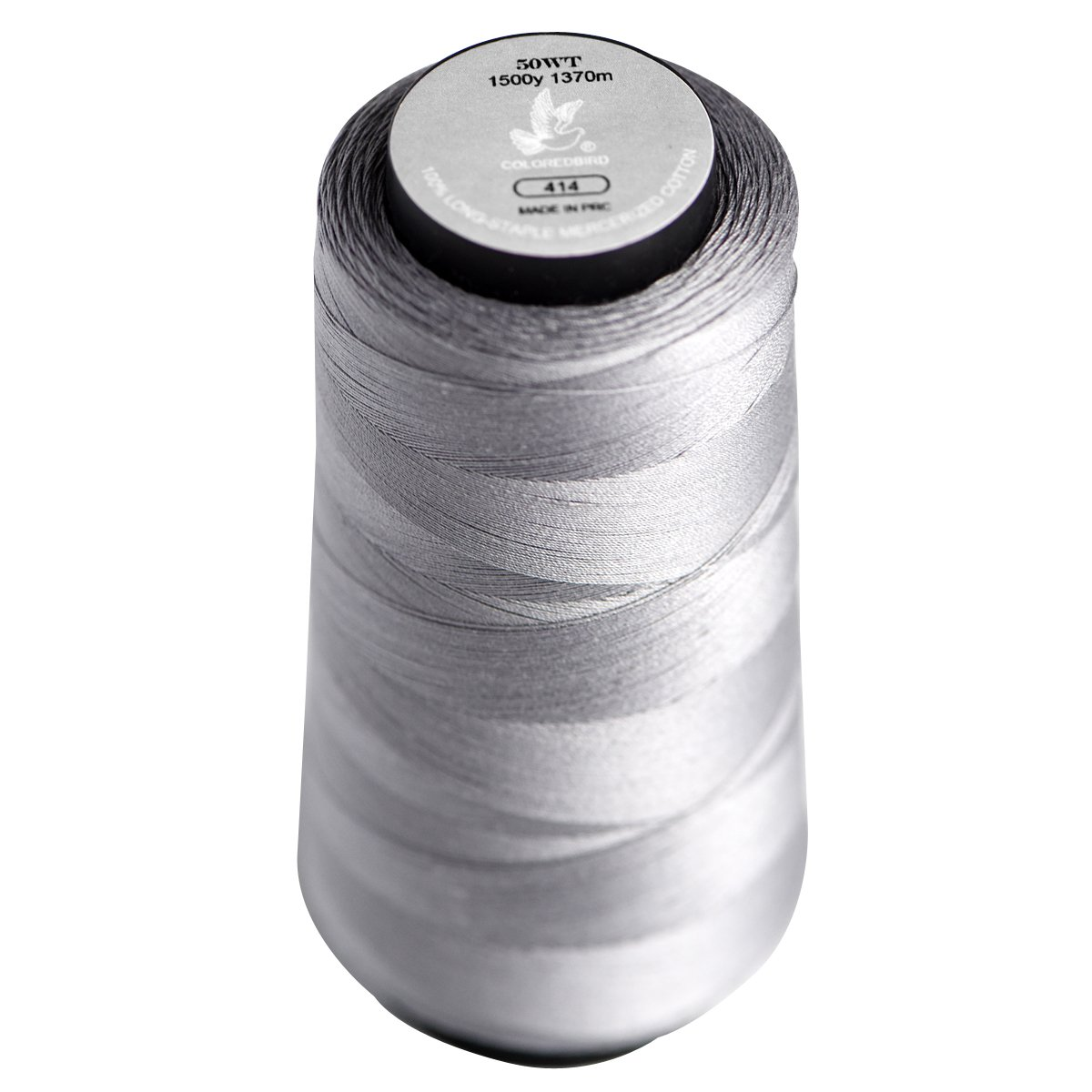 Color Bird 50WT-Solid Grey Long Staple Cotton Sewing Thread,Serger Spool Thread Set -1500Yards/1370m-for Quilting, Single Needle,Machine Embroidery,Overlock, Merrow (Color No,:414) cq