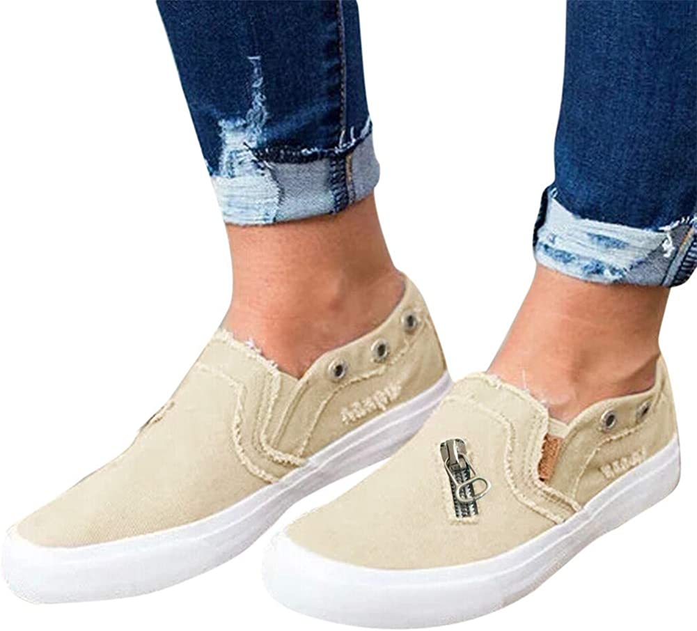 Walking Shoes for Women Slip Ons,Fashion Sneakers Tassel Casual Canvas Laceless Low Top Loafers Vintage Flat Walking Shoes