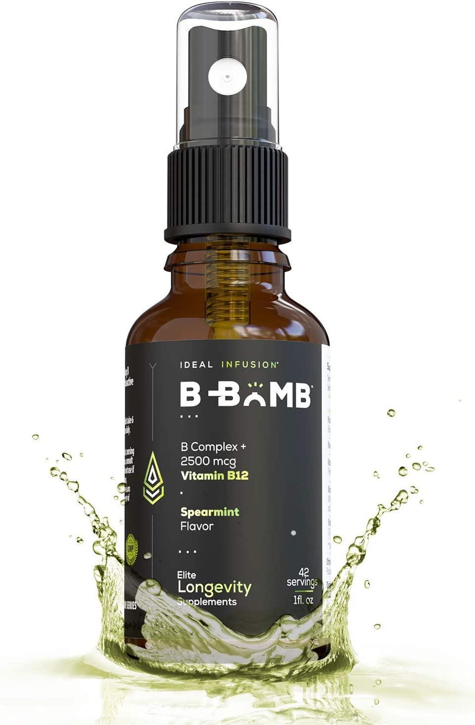 Bioactive Vitamin B12 Liquid Spray l Adenosylcobalamin and Methylcobalamin l Organic Spearmint and Stevia l 2500 mcg, Vegan l Vitamin B2, B3, B5, B6