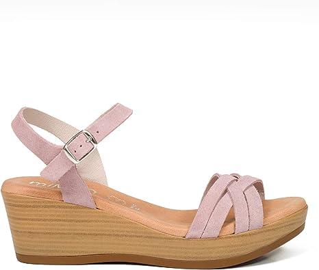 EXTRALIGHT – Sandalia de cuña Trenzada Rosa: Amazon.es: Zapatos y complementos