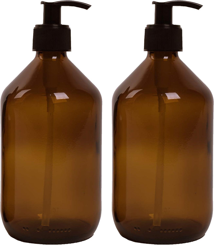 Lifestyle Lover - Dispensadores de jabón de cristal marrón, color ámbar, para jabón, fregadero, champú o lociones, botellas de cristal marrón de 300 ml y 500 ml (lisas), plástico, 2 x 500 ml.