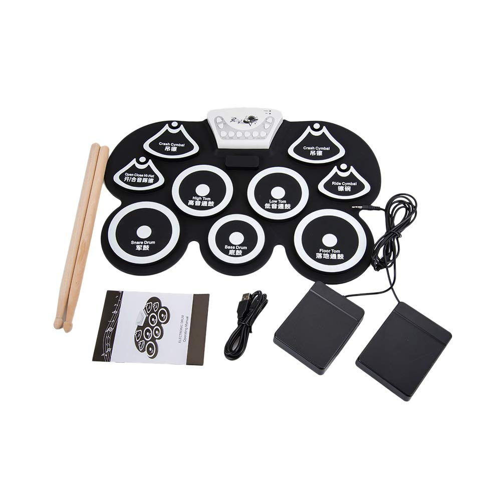 1 Set G101 Foldable Silicon Electronic Drum W500 Portable Electronic Roll Up Drum Pad Kit with Stick (Battery Not Included Black)