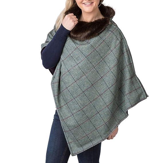 3666faedf Rydale Ladies Faux Fur Wool Poncho (Grey): Amazon.co.uk: Clothing