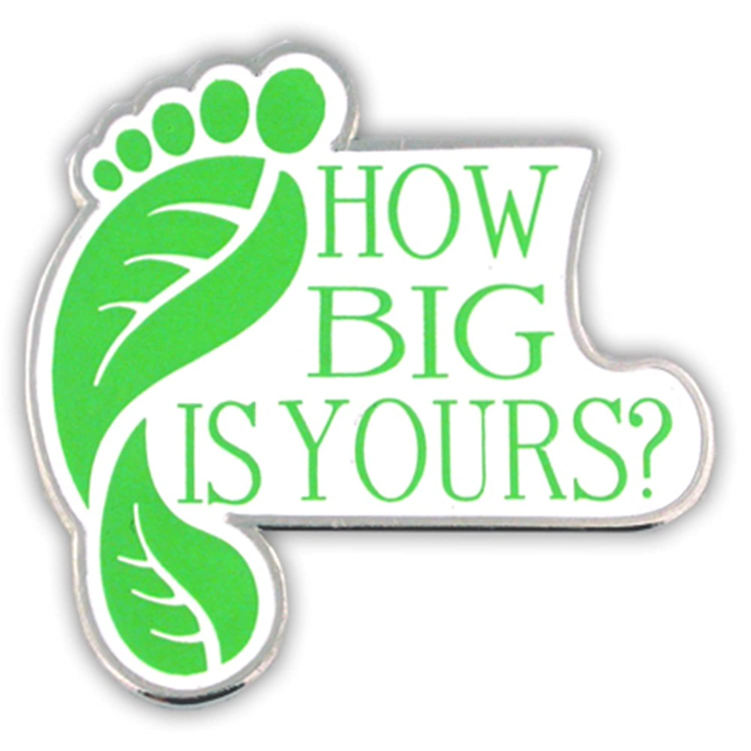 new PinMart's ECO Green Environmental Awareness Footprint Enamel Lapel Pin How Big Is Yours