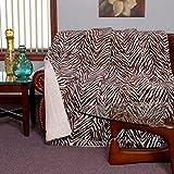 20 Lakes Plush Zebra Strip Sherpa Lined Blanket (Queen, White / Brown)