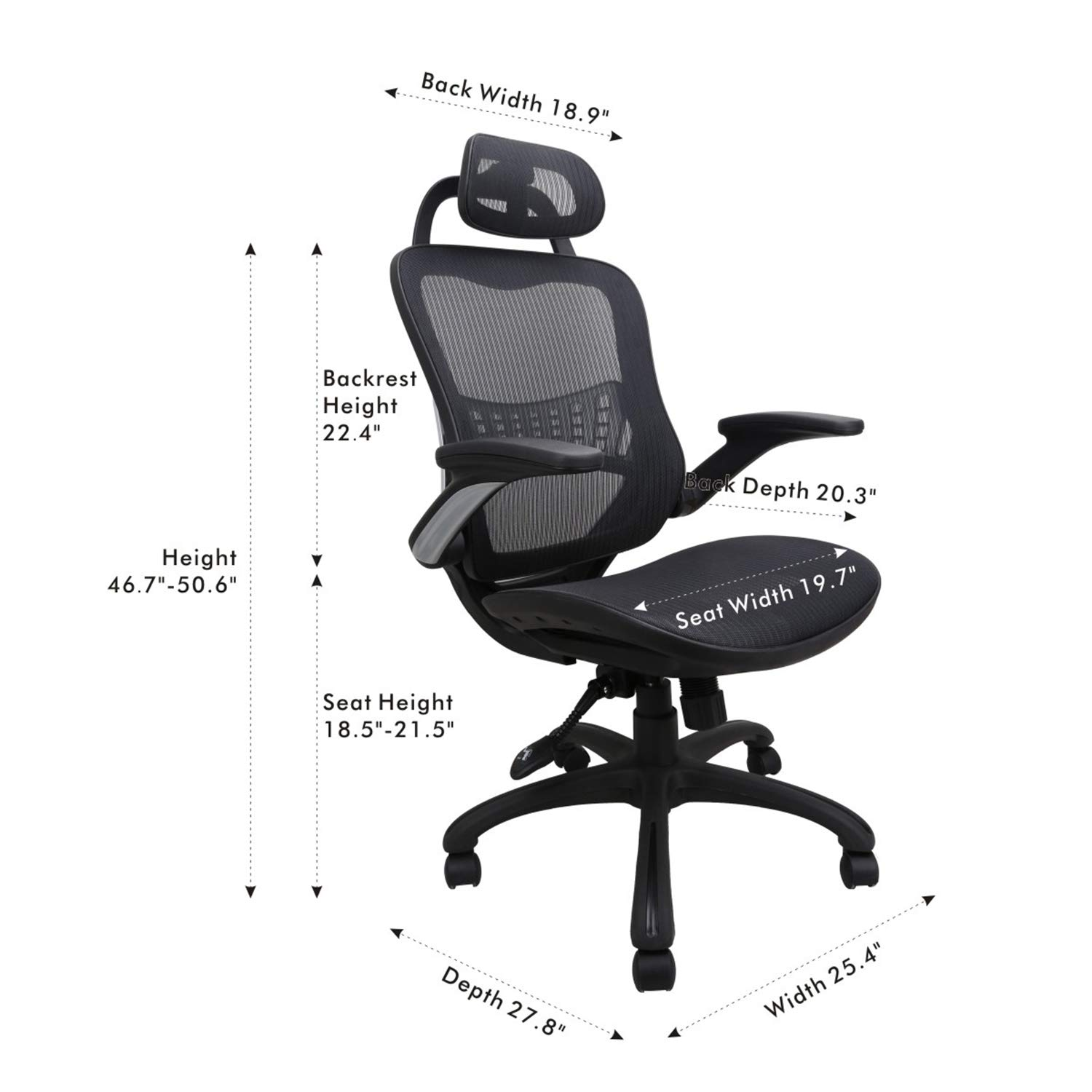 Ergonomic Office Chair: Passed BIFMA/SGS Weight Support Over 300Ibs,Breathable Mesh Cushion &High Back - Executive Chairs with Adjustable Head& Backrest,Flip-up Armrests,360-Degree Swivel Chair by Komene (Image #5)