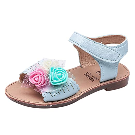 8153e5543e33 Buoyee Cute Toddler Infant Kids Baby Girls Velcro Casual Single Flower Shoes  Sandals Light Blue