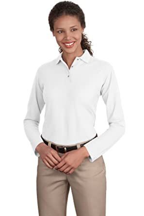 67741469 Port Authority Women's Long Sleeve Silk Touch Polo at Amazon Women's  Clothing store: