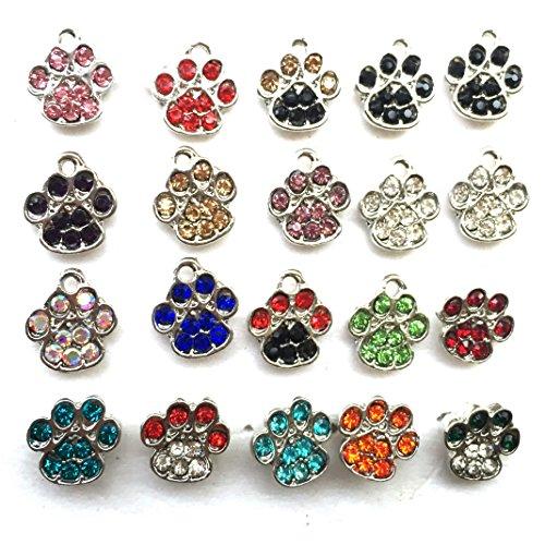DOLON Brand 20pcs Bulk Dime Size 1CM Tiny Paw Charms Assorted Colors Fit for DIY Bracelet Charms