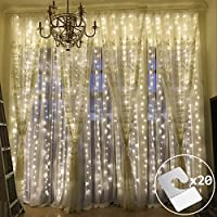 Outop Double Female Designs 9.8FT 304 LED 8 Model Window Curtain Lights Icicle Fairy Lights for Wedding Party Home Patio Lawn Garden Improvement (Warm White)