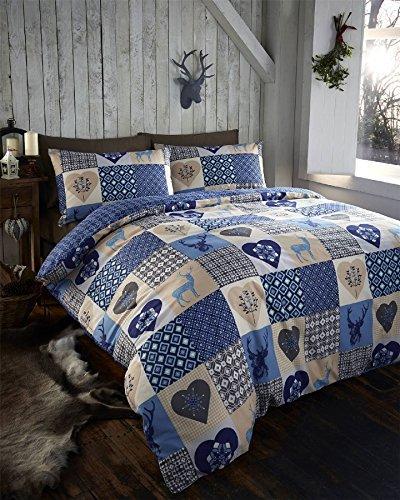 Rustic Stags Rein Deer Duvet Quilt Cover King Patchwork Bedding Bed Set Blue New by DE CAMA by De Cama