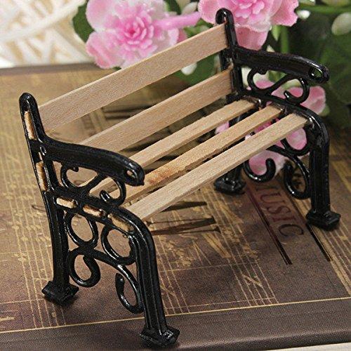 Pink Lizard 1:12 Wooden Bench Black Metal Dolls House Miniature Garden Furniture Accessories ()