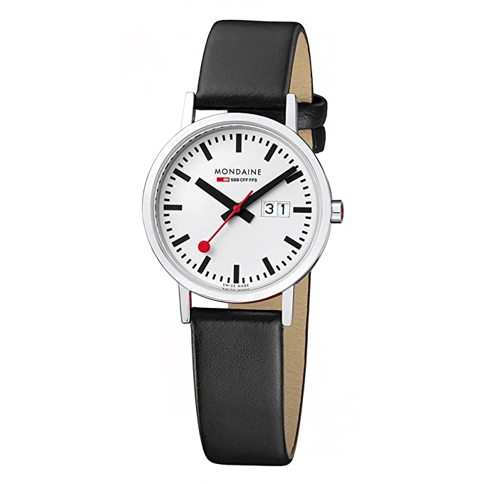 Mondaine Classic 36 mm Big Date - Reloj análogico de cuarzo, unisex