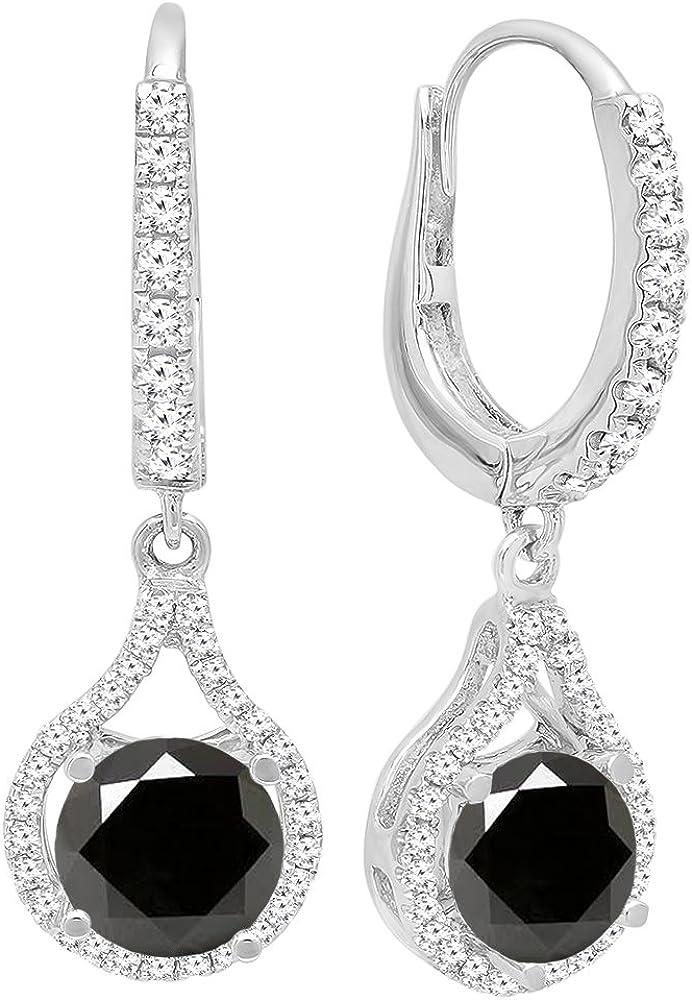 DazzlingRock Collection 14K Oro 5.5MM Cada Ronda Piedras Preciosas y Diamantes Mujer Colgando Pendientes Blanco y Negro Diamante Negro