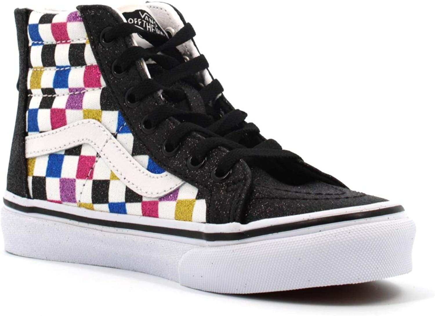 Vans SK8 HI Zip (Glitter Checker) BlackWhite: