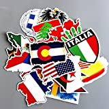 Flags sticker Sticker of International Worldwide By Country Children Adult teens Teacher toddlers water bottles laptop Car Travel Luggage Suitcase Skateboard Decal (National Flags stickers 27 Pcs)