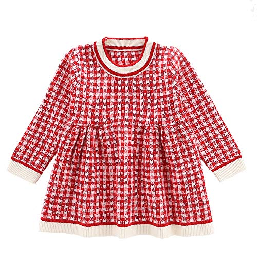 Moonnut Baby Girls Long Sleeve Pullover Sweater Dress Toddler Kids Autumn Winter Warm One Piece, 18-24M Red ()