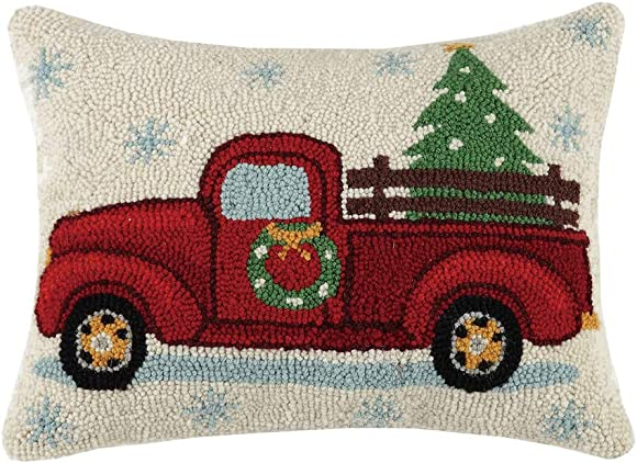 Peking Handicraft Holiday Highway Christmas Tree On Truck Wool-Blend Decorative Pillow, 14 X 18
