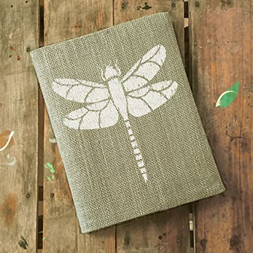 """Dragonfly Burlap Journal Cover - Composition Notebook Included - 9.75"""" x 7.5"""""""