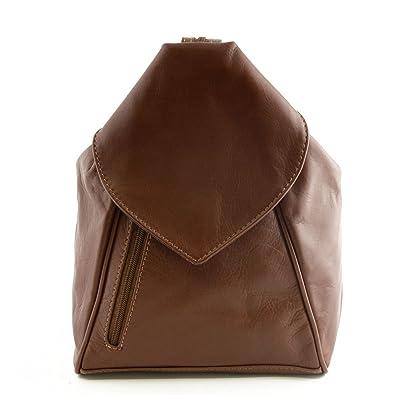 Bolso De Espalda Para Mujer En Piel Color Marrón - Peleteria Echa En Italia - Bolso Espalda: Amazon.es: Zapatos y complementos