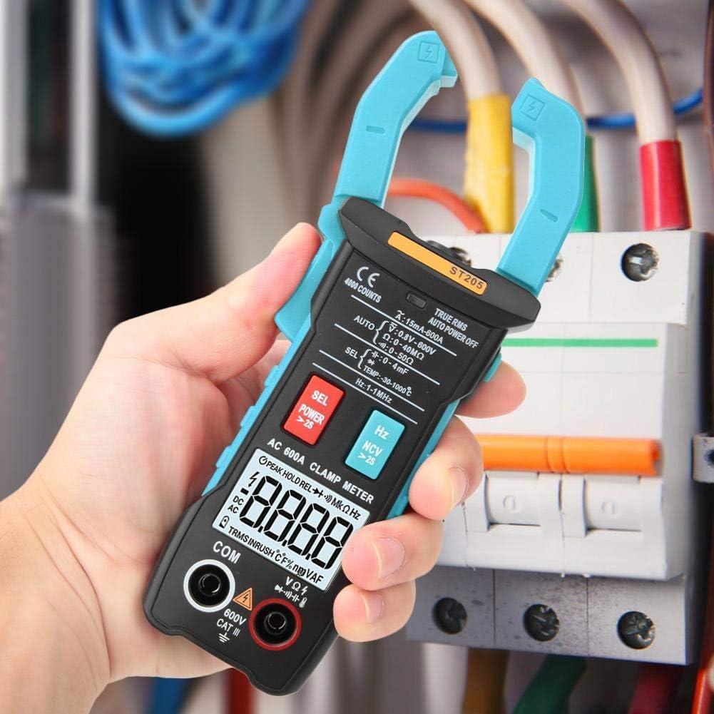 BXU-BG Pinza multímetro digital, ST205 4000 cuentas completa inteligente rango de verdadero valor eficaz medidor digital for equipos eléctricos de prueba y mantenimiento automático (azul)