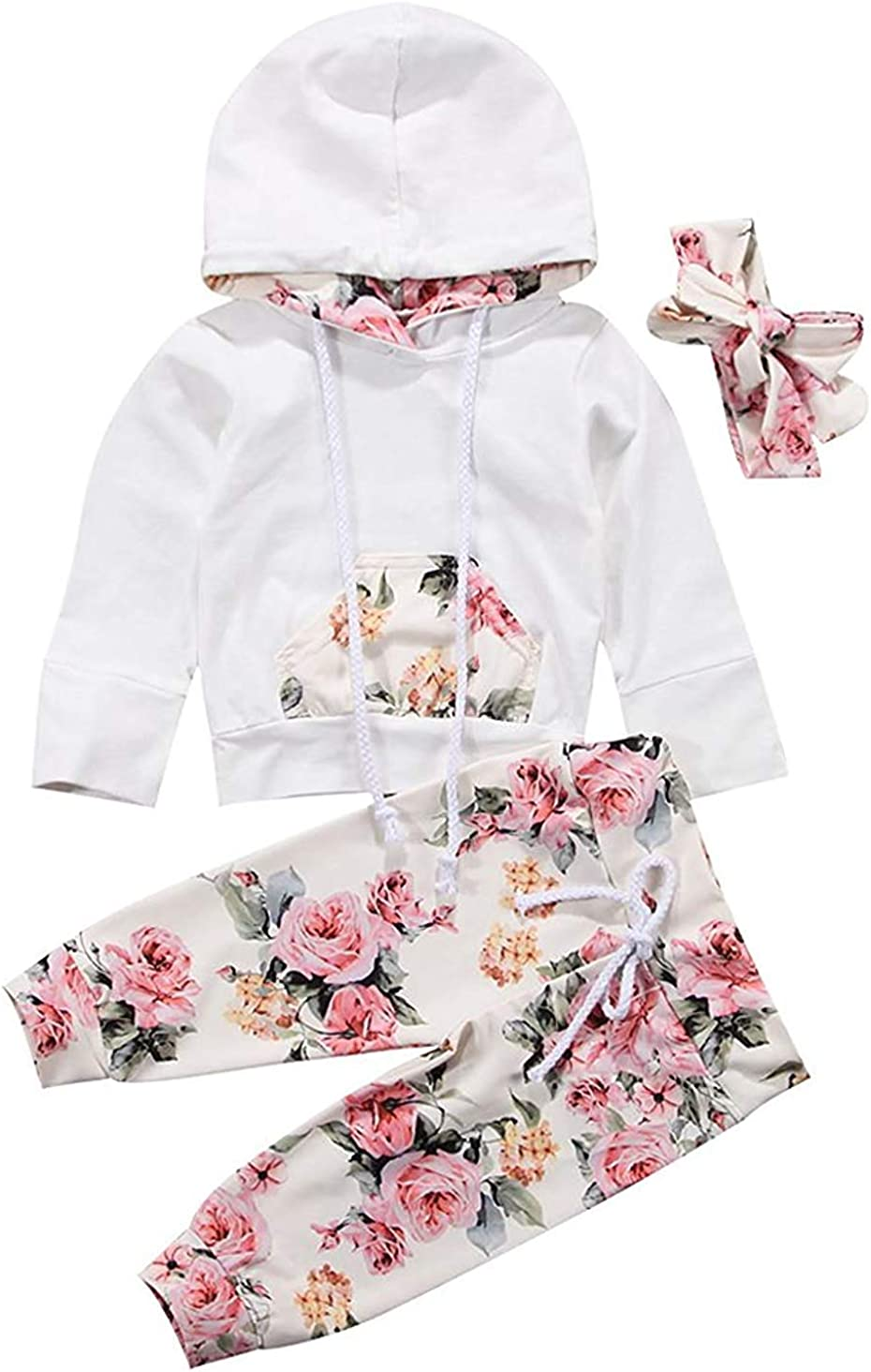 i-Auto Time Cute Newborn Infant Baby Girl Clothes Long Sleeve Hoodie+Floral Pants+Headbands with Bows Outfits Sets