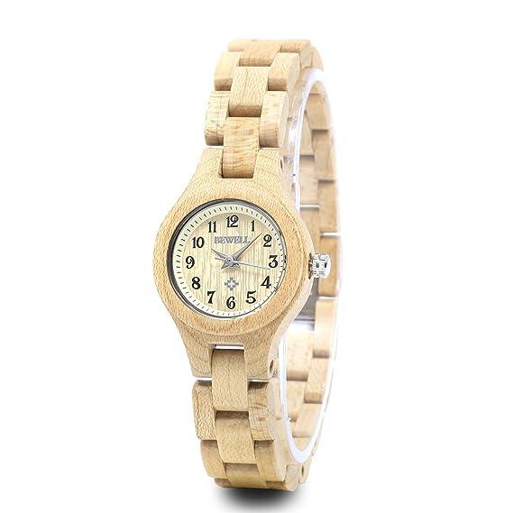 Bewell - Reloj pequeño dial pulsera de las mujeres reloj de pulsera, reloj Casual cuarzo de artesanía de madera de arce (Slim) w123 a: Amazon.es: Relojes
