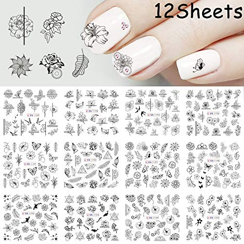 (Nail Black Flower Decals Nail Art Water Transfer Stickers 12 Sheets Women DIY Nail Sliders Manicure Wraps Paper Decorations for Fingernails & Toenails Beauty Decor Leaf Butterfly Designs)