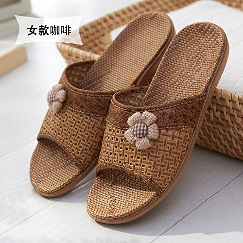 le nell'erba femminile di A persone fankou anziane 38 pantofole le l'antiscivolo ciabatte estive 37 marrone fresche bambù x8Bq4